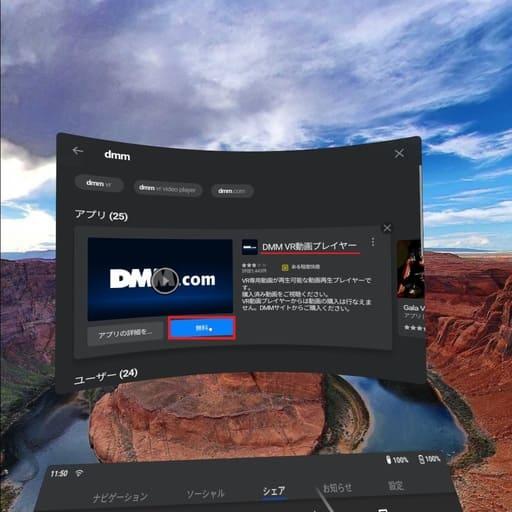 Oculus GoのDMMアプリインストール画面